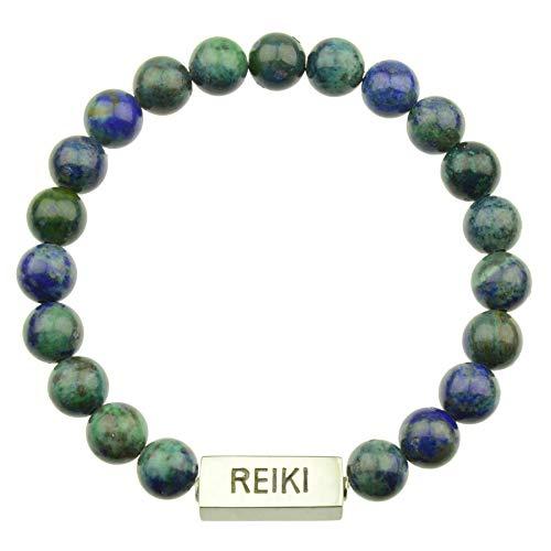 Sei He Ki Reiki Azurita Pulsera XL 21 cm | Pulsera de Piedras Preciosas con Perlas de 8 mm Cuentas de Piedras Preciosas