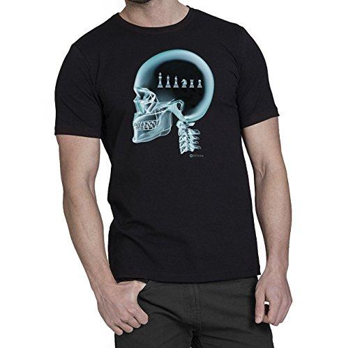 Camiseta Hombre X-Ray Cráneo Ajedrez - Color Negro / Varias Tallas