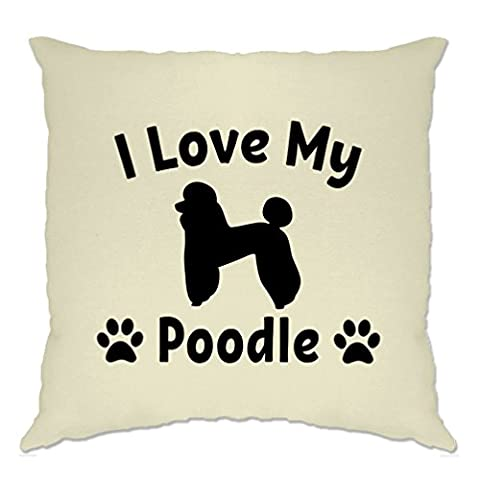 I Love My Poodle Dog Lover Gift Cute Adorable Silouhette Breed Owner Pet Animal Companion Hound Paw Canine Cushion Cover Sofa Home Cool Birthday Gift Present