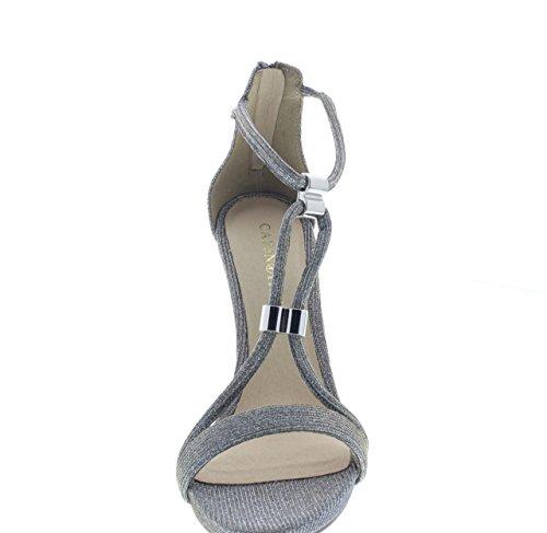 CAF NOIR MNB994 chaussures argent sandales femme talon aiguille zip bijou 204 ARGENTO