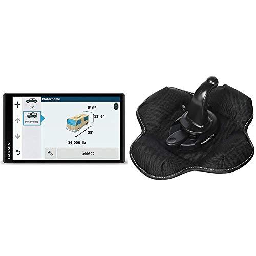 Garmin Camper 770 LMT-D Navigationsgerät (17,7 cm (6,95 Zoll) Multitouch-Glasdisplay, Europa, Fahrspurassistent, Integriertes WLAN) schwarz & Garmin KFZ Halterung (tragbare Haftungshalterung)