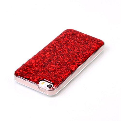 Pour iPhone 5 Coque en Silicone Glitter Bling Etui Housse, SKYXD pour iPhone 5S Cristal Clair Sparkles Gel TPU Bumper Cas Case Cover Couverture Etui pour Apple iPhone 5 / 5S/ SE, Gold Red