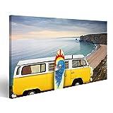 islandburner Bild Bilder auf Leinwand VW Bulli T1 Bus Surfboard Cornwall Wandbild, Poster, Leinwandbild MLK