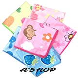 #7: A'SHOP Premium Attractive Cotton Towel Hankies with Multicolored Printed with different Cute Funky and different Cartoons print designs Handkerchief 100% Cotton for Kids, women, girls (Pack of 6)