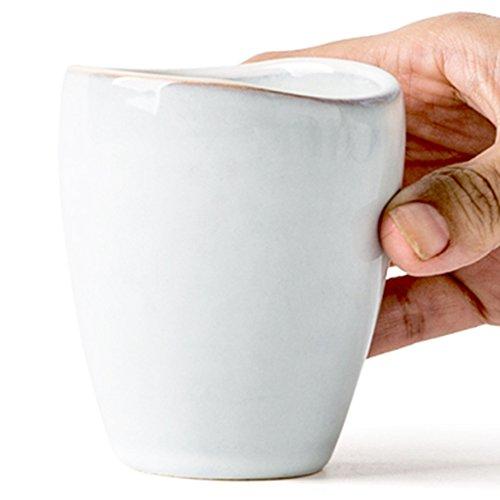 WLG Japanische und koreanische handbemalte Steingutsuppe, Teetasse, Tasse, Keramikbecher,Kaltes Grau,150ml