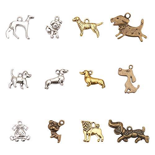 Kostüm Niedliche Hunde Handgemachte - PandaHall 72pcs 12 Arten tibetische Legierungs-Tier-Hundecharme-Anhänger-Haustier-Hündchen bördelt Charme für die DIY Armband-Halsketten-Schmucksache-Herstellung, antike Silberne goldene Bronze