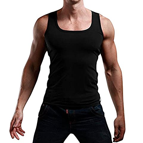 Chouette Homme Débardeur Uni T-shirt sans Manches Stretch Shirt Sim Tank Top Muscle Blouse Maillot de Corps Sport Fitness Jogging (FR42-46, Noir)
