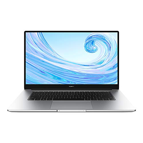 huawei matebook d 15.6 notebook portatile, processore amd ryzen 5 3500u, 8 gb ram, 256 gb ssd, schermo fullview 1080p fhd, sensore impronte digitali, windows 10 home, laptop, argento
