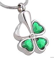 Epinki Stainless Steel Green Clover Heart Emerald Cremation Jewelry Keepsake Memorial Urn Necklace