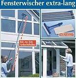 WENKO 7161500 Fensterwischer - extra lang, Microfaser, Wischkopf mit Schwamm, Knickgelenk, Arbeitshöhe bis 5 m