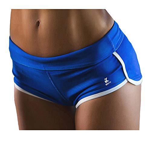 Kipro Damen Sport Hoch Strecken Eng Mini Sexy Shorts Blue M