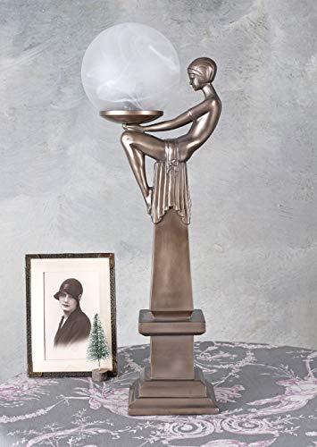 Figürliche Art Deco Lampe mit Kugelschirm Femme Fatale IS094 Palazzo Exklusiv