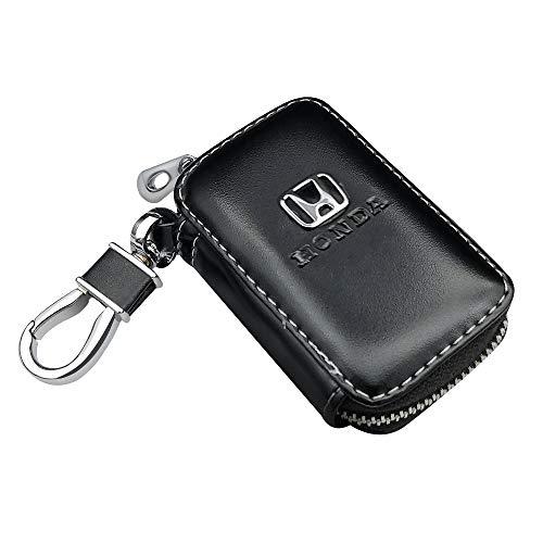 VILLSION Auto Schlüsselmäppchen Echtes PU Leder Schlüsseltasche Auto Funkschlüssel Schlüssel Kasten Halter mit Edelstahlhaken Metall Reißverschluss, Schwarz -