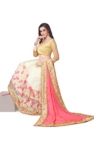 SareeShop Georgette Saree With Blouse Piece(Lakshmi-4012_Pink Free Size)