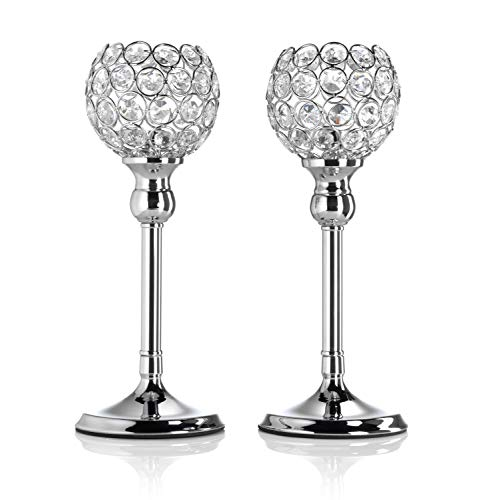 Artis Set of Two Silver Pillar Candle Holders with Crystal Detail for Tea Light/Votives, Perfect Centrepiece for Dinner Table, Weddings and Parties