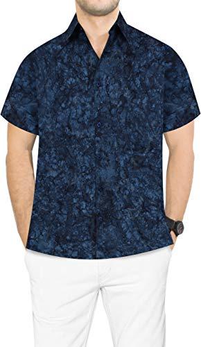 LA LEELA Herren-Hawaiihemd Bademoden Bademoden Luau Thema-Partei gedruckt Aloha Navy blau_AA123 XL-Brustumfang (in cms):121-132