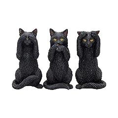 Idea Regalo - Nemesis Now - Statuetta a Tre Gatti saggi, 14 cm, in Resina, Taglia Unica, Colore: Nero