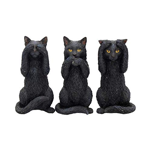Nemesis Now - Figura Decorativa de Tres Gatos sabios, 14 cm, Resina, Color Negro, Talla única
