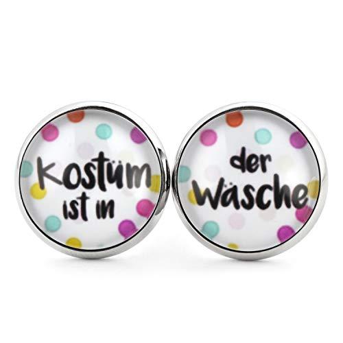 (SCHMUCKZUCKER Ohrstecker Spruch Kostüm ist in der Wäsche Modeschmuck Ohrringe silber-farben bunt 14mm)