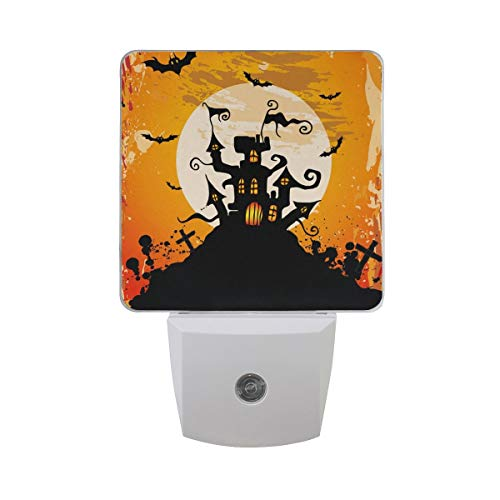 DFISKK Nachtlicht Set of 2 Halloween Party Scary Castle with Bat Full Moon for Entertainment On Orange Auto Sensor LED Dusk to Dawn Night Light Plug in Indoor for Adults (Halloween Entertainment X)