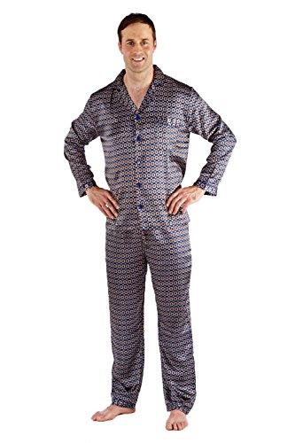 Herren Satin Bademantel Bademantel Kimono, Satin Pyjama Set Nachthemd Schlafanzüge - marineblau