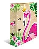 HERMA 19393 Motiv-Ordner DIN A4 Tropical Flamingo Queen, 7 cm breit aus stabilem Karton mit Neoneffekt und Innendruck, Ringordner, Aktenordner, Briefordner, 1 Ordner