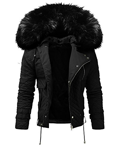 Crone Herren Designer Fellkragen Jacke Pelzkragen Fell Kragen Pelz Winterjacke Fur Biker Jacket in 3 Farben Schwarz