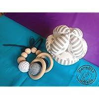 KIT bebé Montessori 2 Regalos para bebés, Pelota infantil y sonajero de madera, estilo Montessori, material Montessori, kit Montessori bebé TONOS GRISES