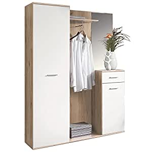 caro m bel garderobe flurgarderobe malin in sanremo hell wei mit spiegel gro em schrank und. Black Bedroom Furniture Sets. Home Design Ideas