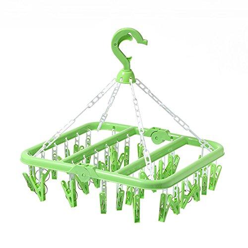 SMARTrich Tendedero plegable de plástico, 32 clips, plástico, Verde,