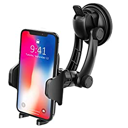 Car Phone Holder,VicTsing Universal Windshield Car Phone Mount Holder Cradle with Strong Sticky Suction Pad for iPhoneXS/XS Max/XR/X/8/7,GalaxyS9/8/Note8/9,Huawei P20,HTC,Sony, LG &Android Smartphone