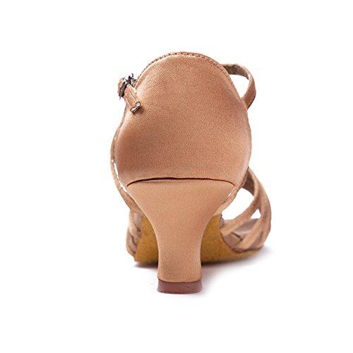HIPPOSEUS Scarpe da Ballo Latino Satinato da Donna, Scarpe da Ballo, Modello WZJ-CL Beige-BDJ-5
