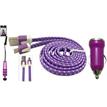 Emartbuy Trenzado Plano Trio Paquete para Elephone C1X Smartphone - Púrpura Bala 1 Amp USB Cargador de Coche + Púrpura Mini Stylus + Trenzado Púrpura / Verde Plano Micro USB Cable