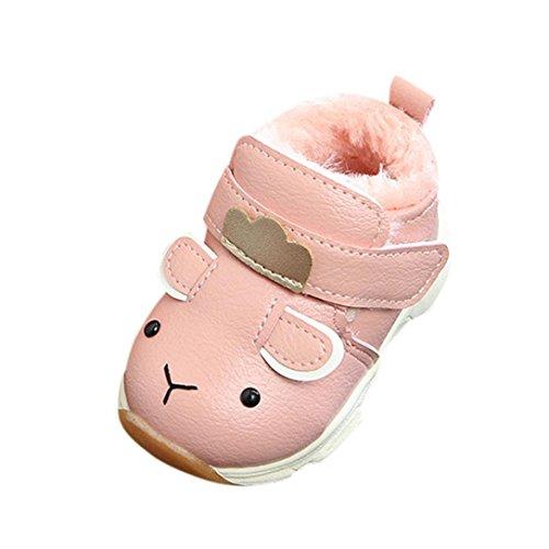 e Turnschuhe Lauflernschuhe Baby Warm Infant Jungen Mädchen Martin Cartoon Leder Sneaker Luckygirls (EU:16, pink) (Jungen-leder-kleid-schuhe)