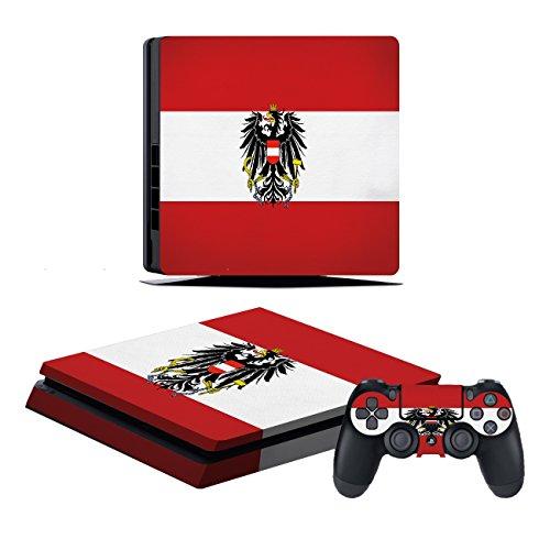 Playstation 4 Slim Konsole + 2 Controller Design Schutzfolie Skin Faceplates Schutz Folie Motiv Österreich ( Herstellung in Deutschland )