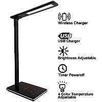 LED Schreibtischlampe Nachttischlampe Wireless QI Ladegerät Tischleuchte  Mit Smartphone Ladefunktion Induktive Ladestation Für Kabelloses Laden (