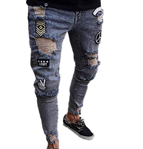 Hibasing Herren Denim Hosen Jeans Zerrissen Schlanke Jeans Hosen Abzeichen Muster Distressed Denim Hosen Hellblau S-3XL - Junioren Distressed Skinny Jeans