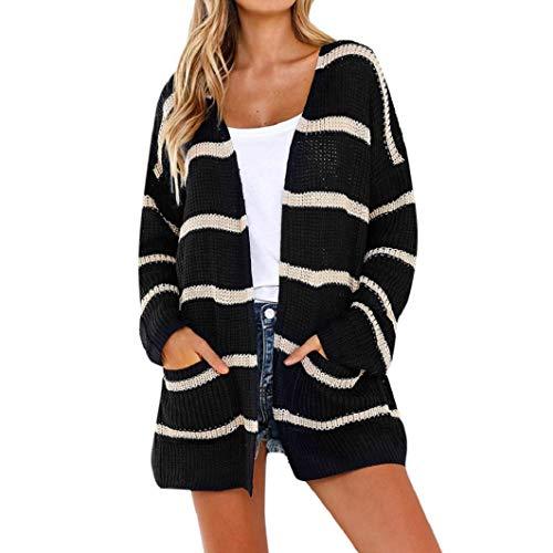 (Subfamily Frauen Lange Ärmel Gestreifte Offene Front Cardigans Jumper Pullover mit Pocket Tops Sweatshirt Wolle Oberteile Herbst Kleidung)