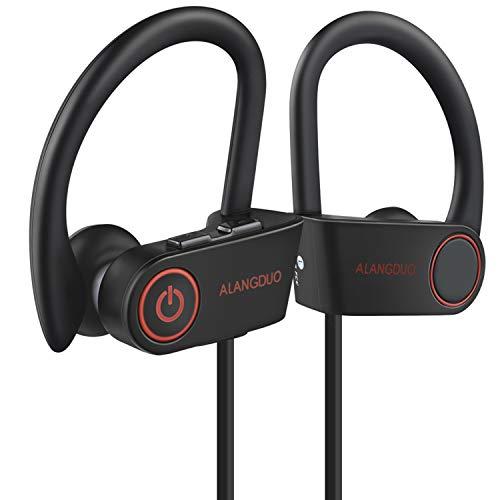 Casque Bluetooth, original ALANGDUO G6 Noir Léger entraînement Écouteurs sans fil pour iPhone, Samsung, Sony, LG, résistant à la transpiration casque avec micro et 6 heures de temps de jeu pour la course à pied, cyclisme, gym