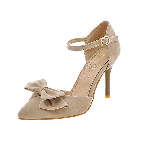 Guoar Stiletto Große Größe Damenschuhe Spitze Zehen D'Orsay&Two-Piece Pumps zum Schnüren B-Khaki