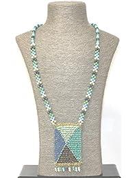 Collar medallon tonos azules