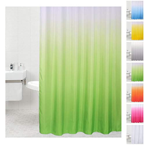 Sanilo Duschvorhang, viele Einfarbige Duschvorhänge zur Auswahl, hochwertige Qualität, inkl. 12 Ringe, wasserdicht, Anti-Schimmel-Effekt (180 x 180 cm Grün) (Licht Grün Duschvorhang)