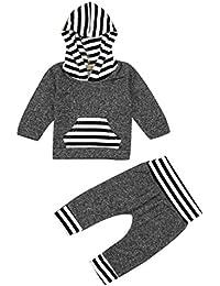 El bebé ropa de la blusa, RETUROM venta caliente recién nacido la manera estupenda muchacha del bebé juego de ropa de rayas con capucha Tops + Pants Equipos