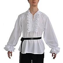 HEMAD Rüschenhemd Piraten-Hemd weiß schwarz XS-XXXL Baumwolle