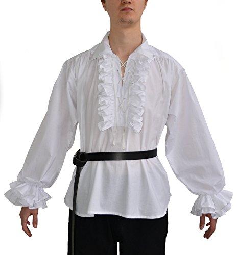 HEMAD Rüschenhemd Piraten-Hemd weiß schwarz XS-XXXL Baumwolle – M Weiß (Renaissance-shirt Baumwolle)
