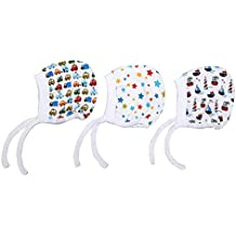 Gilli Shopee New Born Infant Baby Soft Pure Cotton Caps with Tai Knot and Bonnet Infant Unisex Hat/Topi Printed 100% Cotton Housiry caps with taing Knot dori Pack of 3pcs (3-6 Months)