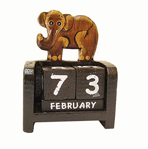 Cornwall Art Prints Pequeño Elefante Calendario perpetuo, Escritorio de Madera Adorno Shabby Chic marrón
