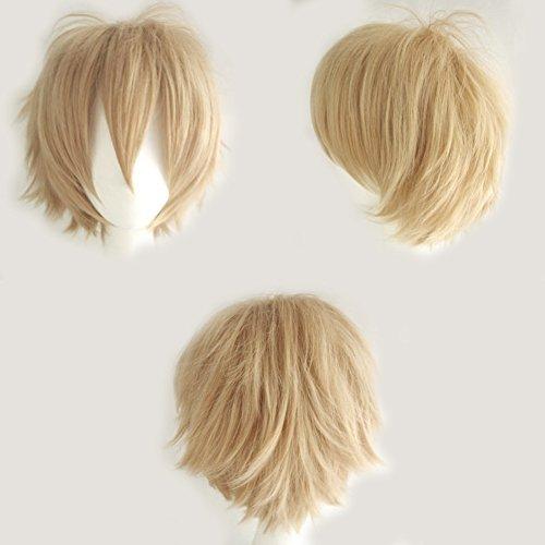 Haare Blonde Curly Kostüm - S-noilite® Unisex Kostüm Perücke Kurz Party Cosplay wig Kostueme Glatt Haar Perücken Wigs Damen Mann - Leinen blond