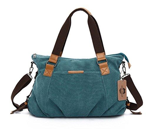 KISS GOLD Retro abwaschbare Damen Schultertasche Canvas Totes Hobo Bag, Blau - Handle Satchel Bag