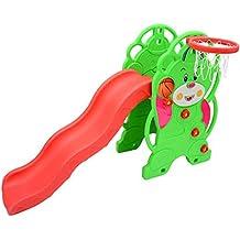 Homcom - Tobogan de oso con canasta baloncesto para niños con pegatinas de colores